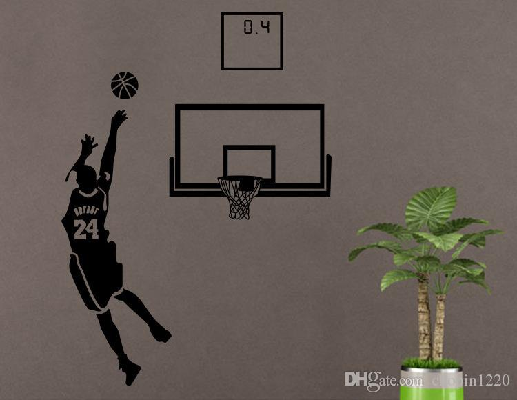 : Small Middle Large Black 3D DIY Photo No.24 Basketball Player PVC Decals/Adhesive Family Wall Stickers Mural Art Home Decor
