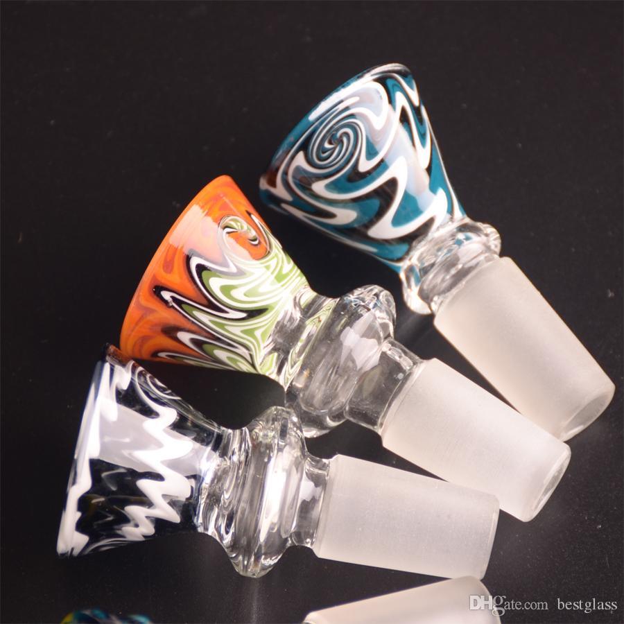 Reversal GLASS BOWL COLOR Cone Typ mit Schwanz Griff gemischte Farblinien mit 14,5 mm oder 18,8 mm männlich Gelenk