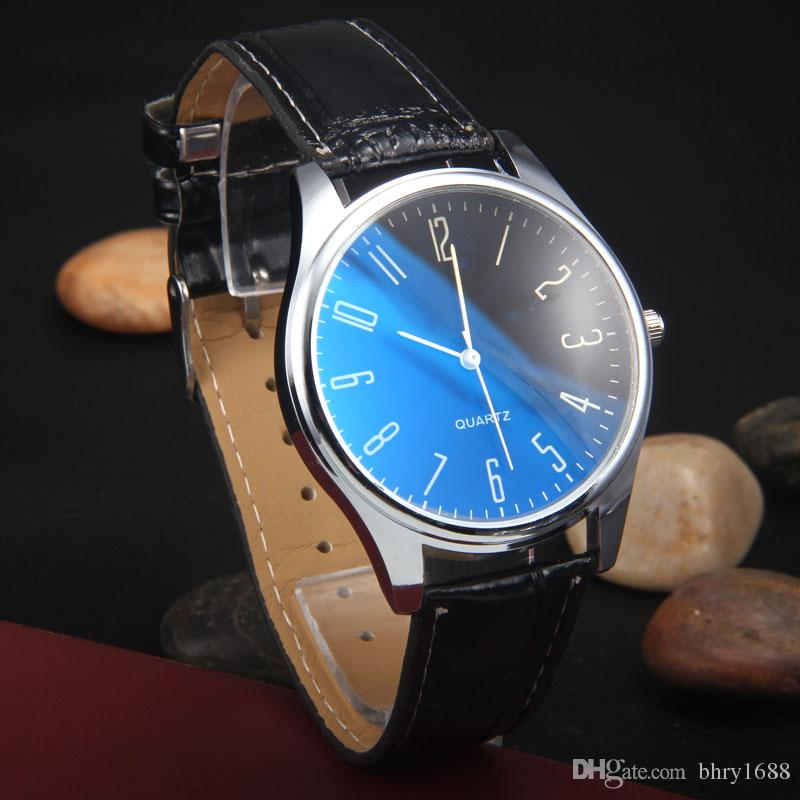 Blu-ray glass digital Geneva watch Mens casual Leather watches Women Male dress watches Girls Couple Gift Fashion quartz wrist watches