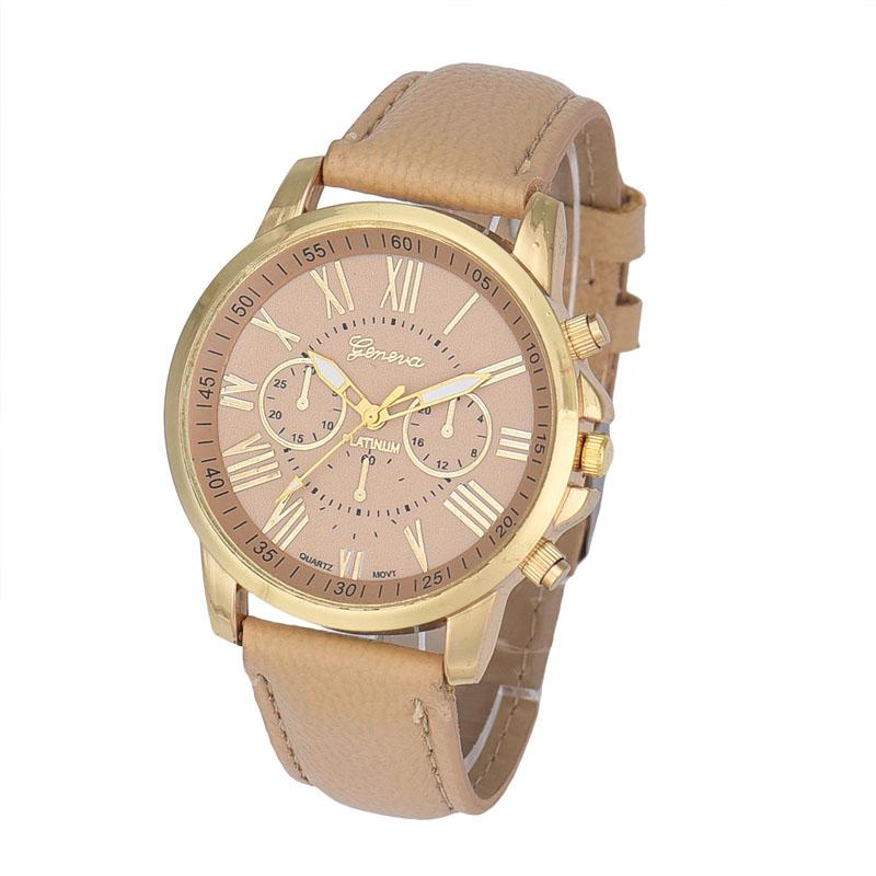 2016 Hot sale New Women's Fashion Geneva Roman Numerals Faux Leather Analog Quartz Wrist Watch for women Jack