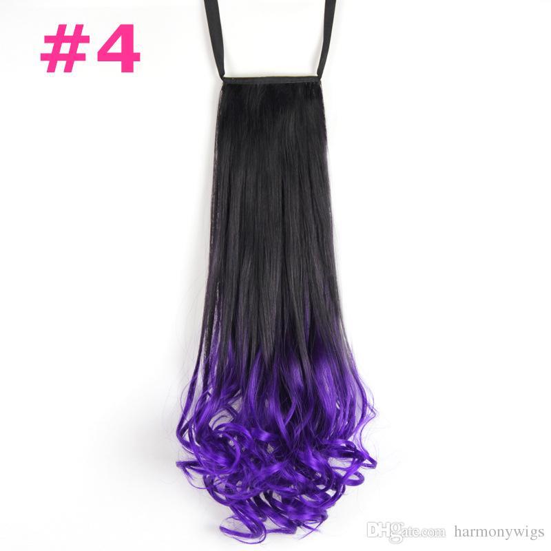 Sentetik saç ponytails ombre İpli Şerit At Kuyruğu kıvırcık dalgalı 20 inç 120g sentetik adet saç uzantıları daha renkler