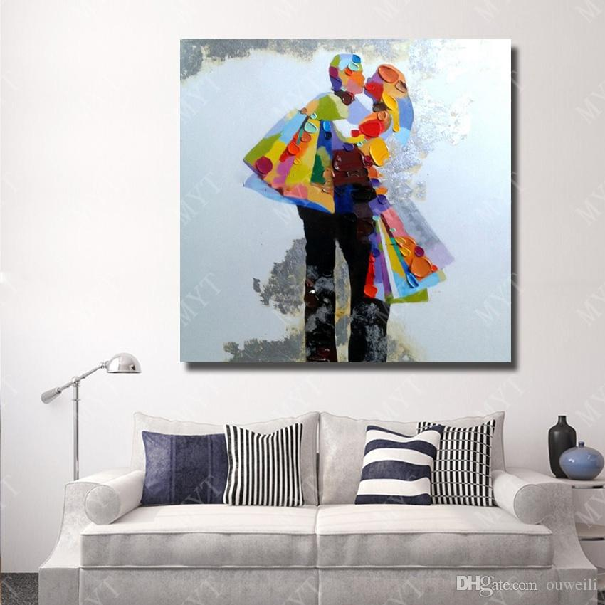 Hand drawing cartoon figure canvas wall art painting top quality abstract canvas art wall decor couple dance oil painting