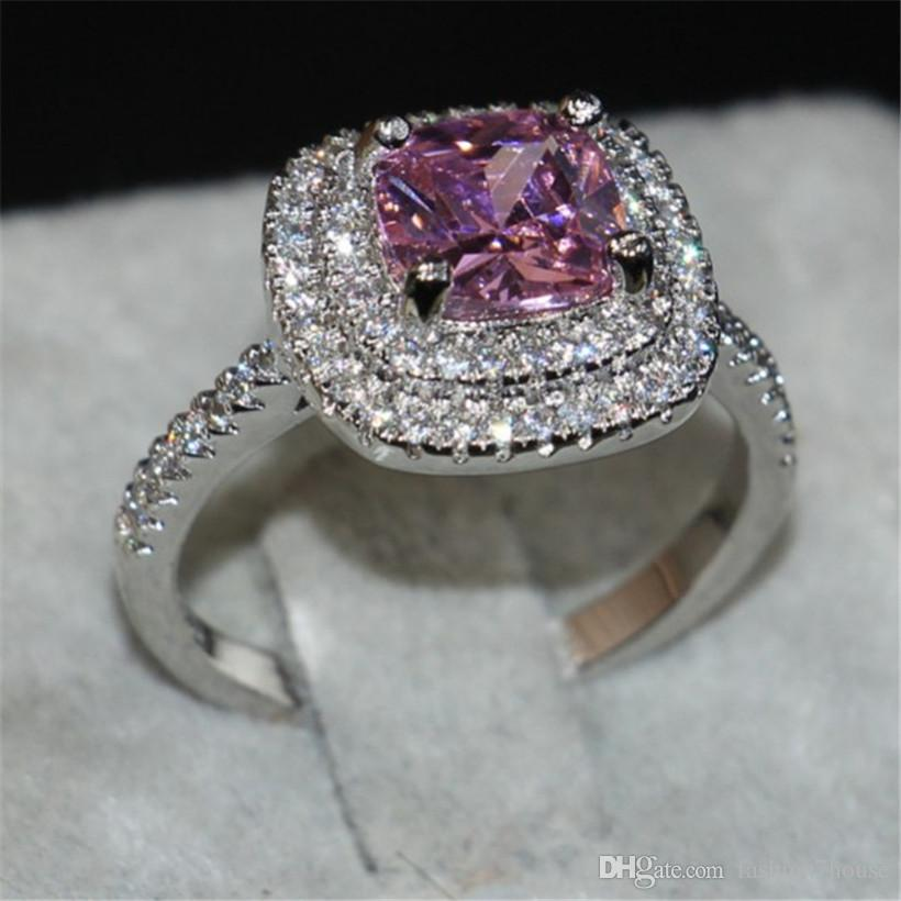 Lady's Pink Gemstone rings Jewelry 925 Sterling Silver Princess-cut 4ct crystal Diamond wedding ring for Valentine's Day gift Size 5-10