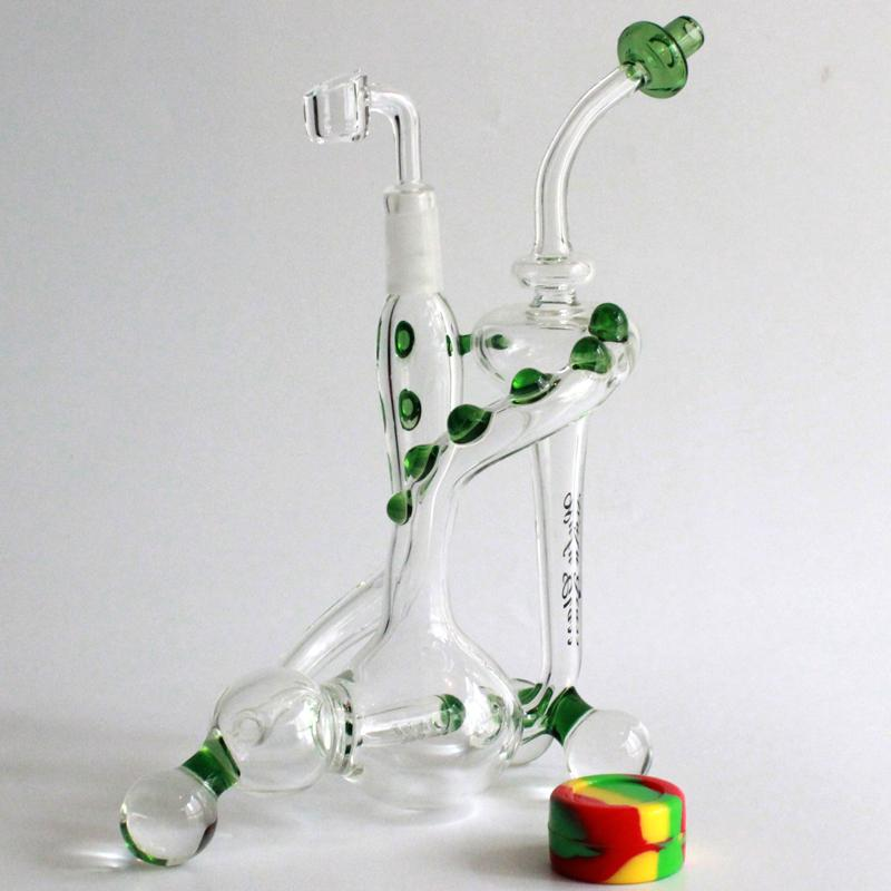 "9.5""new Slim Cooler glass oil rigs recycler water pipes dab rig bubbler 14.5MM whit 4MM quartz banger nail"