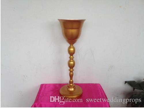 10 adet Lüks Düğün Altın Metal Masa Standı, Ziyafet Çiçek Vazo, Düğün yol kurşun Sahne, Parti Masa Centerpiece Yüksekliği 66 cm