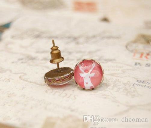 الوردي حجر الغزال الأبيض أقراط الزر عشيق خمر أقراط سبائك حجر الراين أقراط للسيدات