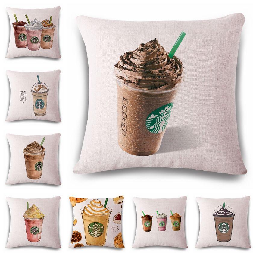 Acquista Porta Cuscini Decorativi Divano Home Decor Starbucks Tazza ...