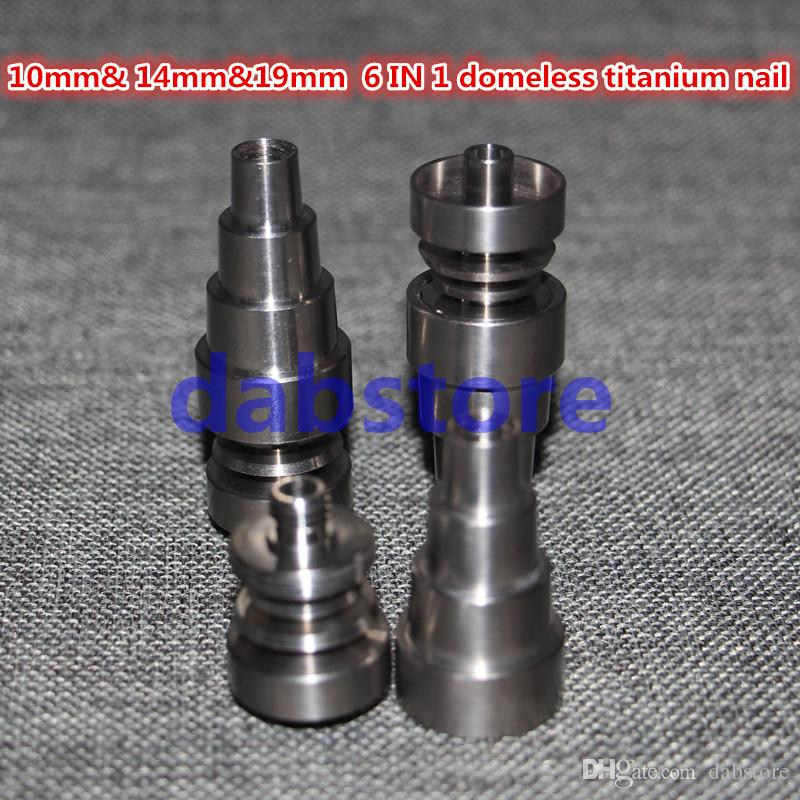 10mm& 14mm&19mm 6 IN 1 Domeless Titanium Nai Titanium Nail With Male Female joint Carb Cap Dab Tool Grade 2 Titanium Nail