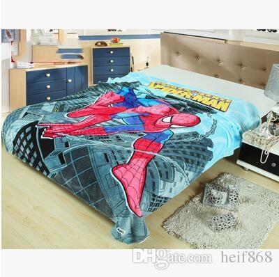 Children Spider Man Cartoon Soft Plush Sleeping Quilt Travel