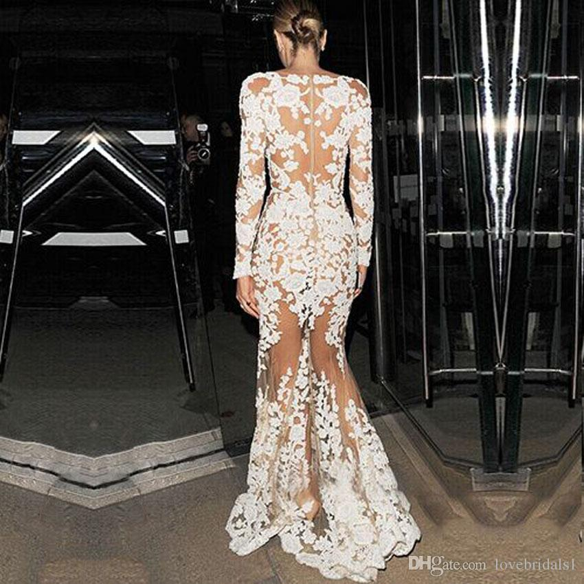 2017 Sexy Deep V Neck See Through Lace Mermaid Evening Dresses Long Sleeves White Celebrity Prom Dresses