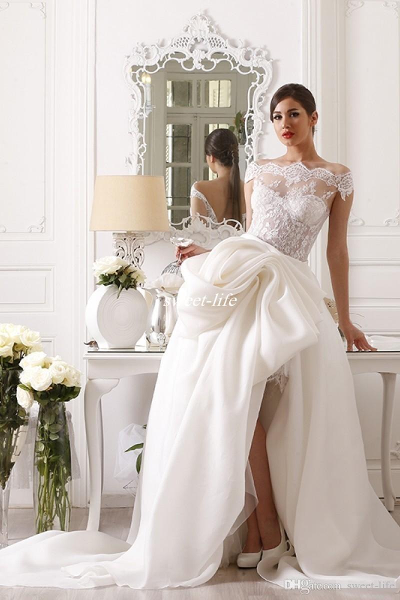 Maison Roula 2020 Abiti da sposa corti Boho Beach con spalle scoperte Abiti da sposa in pizzo pieno con abito da sposa vintage staccabile