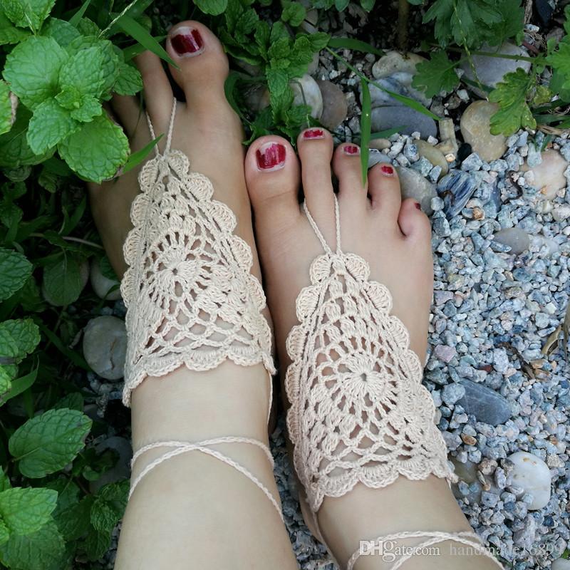 Aux Sandales CrochetHippieNusChaussures De YogaFestivalCotonMain Pieds Nus Beige Crochet MainAu XPikZu