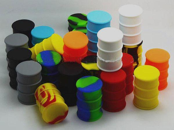 Barils d'huile de silicone contenants pots dab vaporisateur de cire d'huile en caoutchouc forme de tambour en caoutchouc antiadhésif grand outil de qualité alimentaire en silicone sec herbe