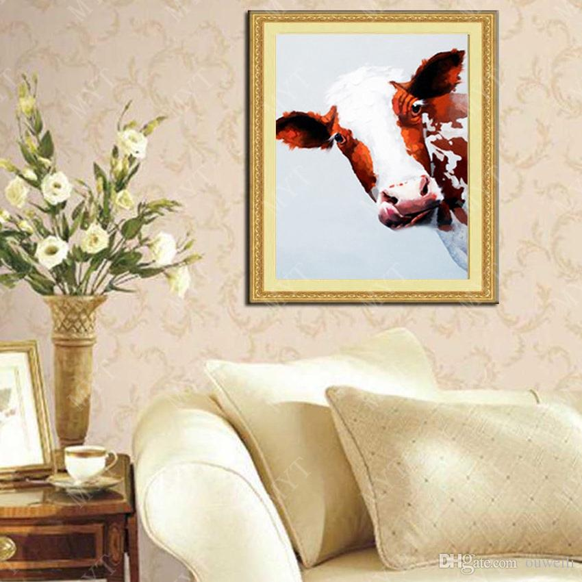 Netherlands cow picture no wooden frame abstract canvas wall arts top quality animal subjects cow oil painting