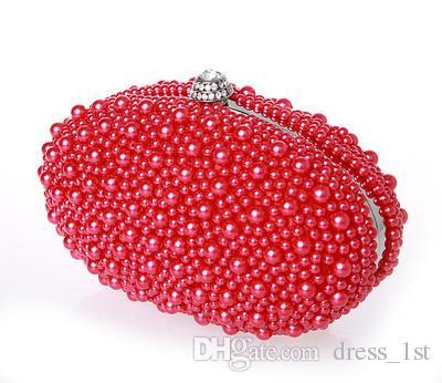Neue Ankunft 2016 Elfenbein Rot Schwarz Perlen Braut Handtaschen Für Frauen Günstige Hochwertige Hobos Diamanten Hochzeit Clutch Bags EN603