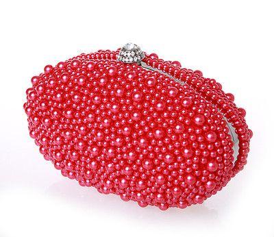 Nueva Llegada 2016 Marfil Rojo Negro Perlas Bolsos de Novia Para Las Mujeres Baratos de Alta Calidad Hobos Diamonds Embrague Del Banquete de Boda EN603