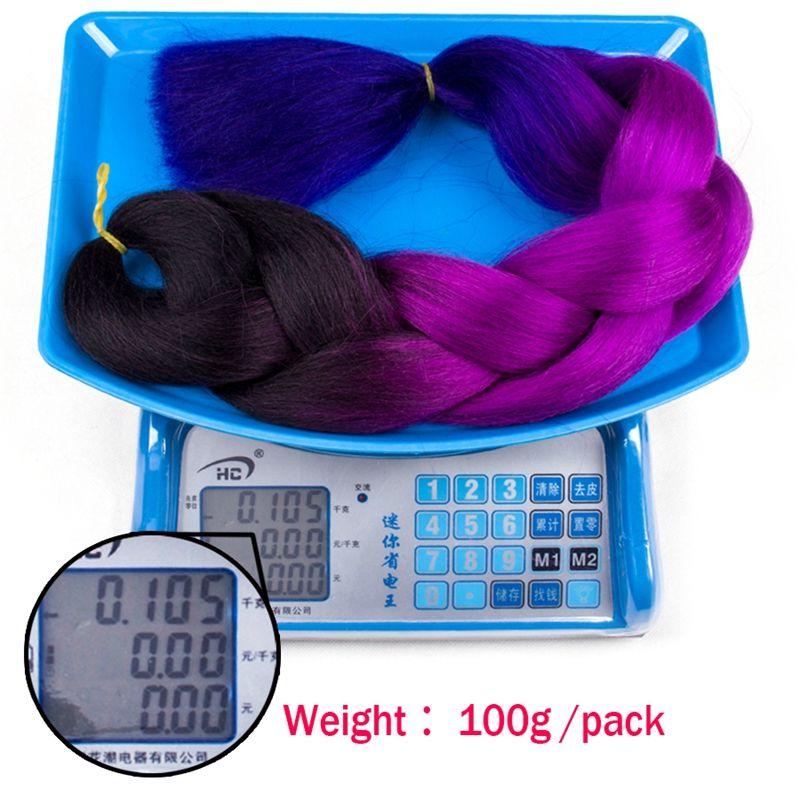 도매 가격 Ombre kanekalon 맘보 트위스트 꼰 머리 점보 머리 장식 확장 크로 셰 뜨개질 꼰 머리