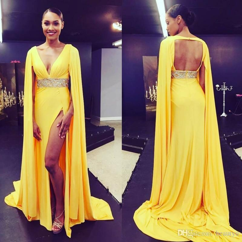yellow formal dresses long
