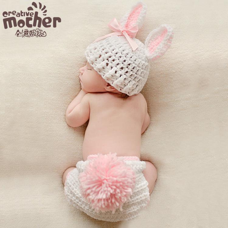 Baby photography prop crochet rabbit set hat clothing children photograph rabbit set newborn props baby hats newborn photography prop baby accessories