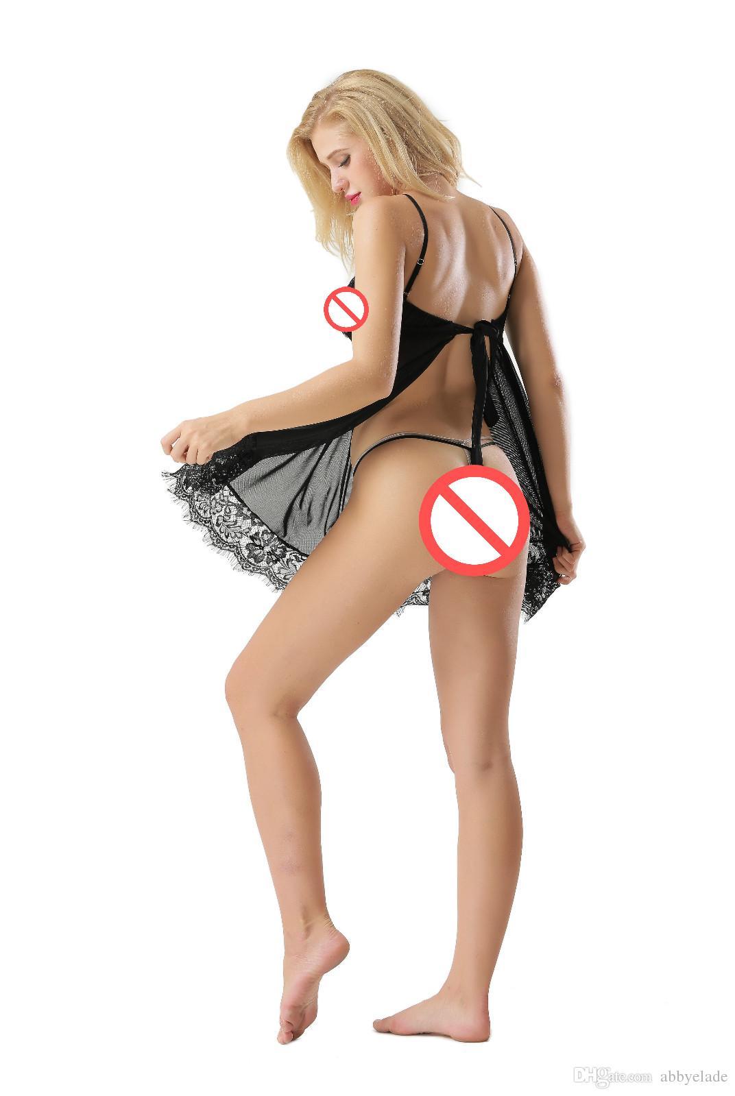 Sexy Dessous Spitze Spaghetti Strap Nachtwäsche Sexi Mujer Backless Nachthemd Dessous Sexy Hot Erotic Babydoll Unterwäsche Nighti Frauen Lencerie