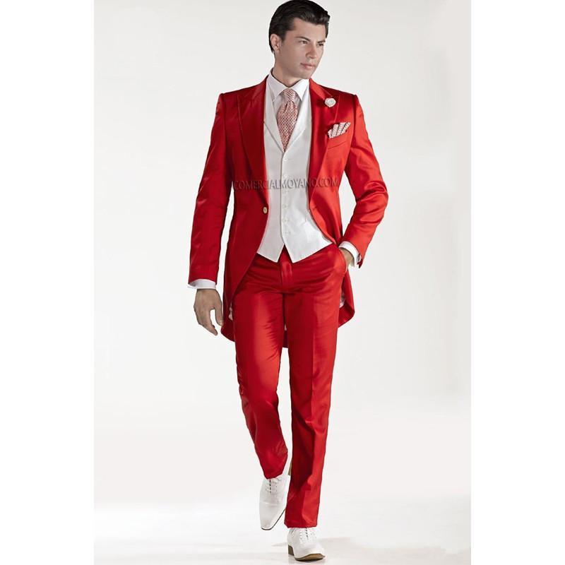 Best Quality Wholesale Custom Design Red Tailcoat Groom Tuxedos ...