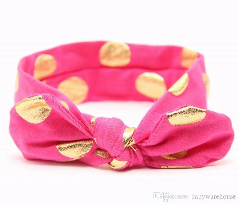 Baby Headbands Gold Polka Dots Cotton Newborn Headband Girls Knotted Bow Head Wraps Girl Hair Bands Headband Kids Hair Accessories