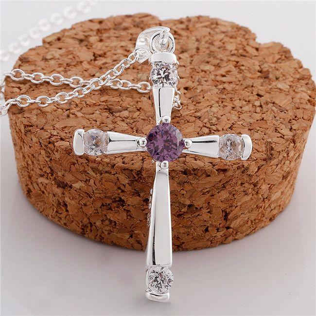 Collier Pendentif en forme de croix de haute qualité pour femmes Purple Gemstone Sterling Sterling Collier STSN656, Collier en argent 925 Gratuit