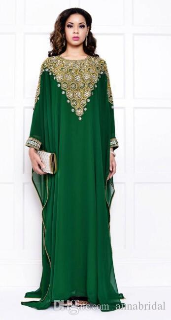 Green Dubai Evening Dresses Chiffon Long Sleeves Gold and Silver Crystals Beading Long Vintage Arabic Muslim Women Kaftans Abaya Vestidos.