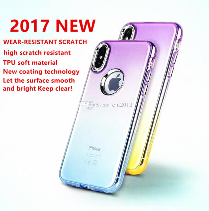 Soft TPU Cell Phone Cases With Hard Button Shell Ultra Thin Gradient Color Protective For IPhone X 6 6s 7 8 plus Dirt Resistant Back Covers