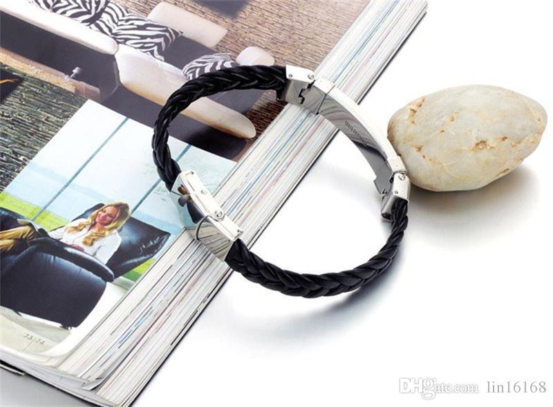 Großhandelstitan-umsponnene Armband-Qualitäts-schwarzes Leder mit Edelstahl-Armband-Armbändern Mode-Mann-Schmuck-attraktivem Entwurf