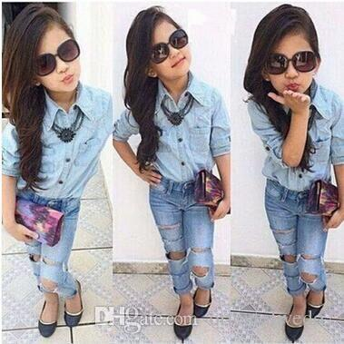 f72ad90cd83 2016 Hot Sale Summer Children Girls Fashion Clothes Set Kids Boutique  Outfits Toddler Girl Jeans Children S Suits Canada 2019 From Orientalwedo2