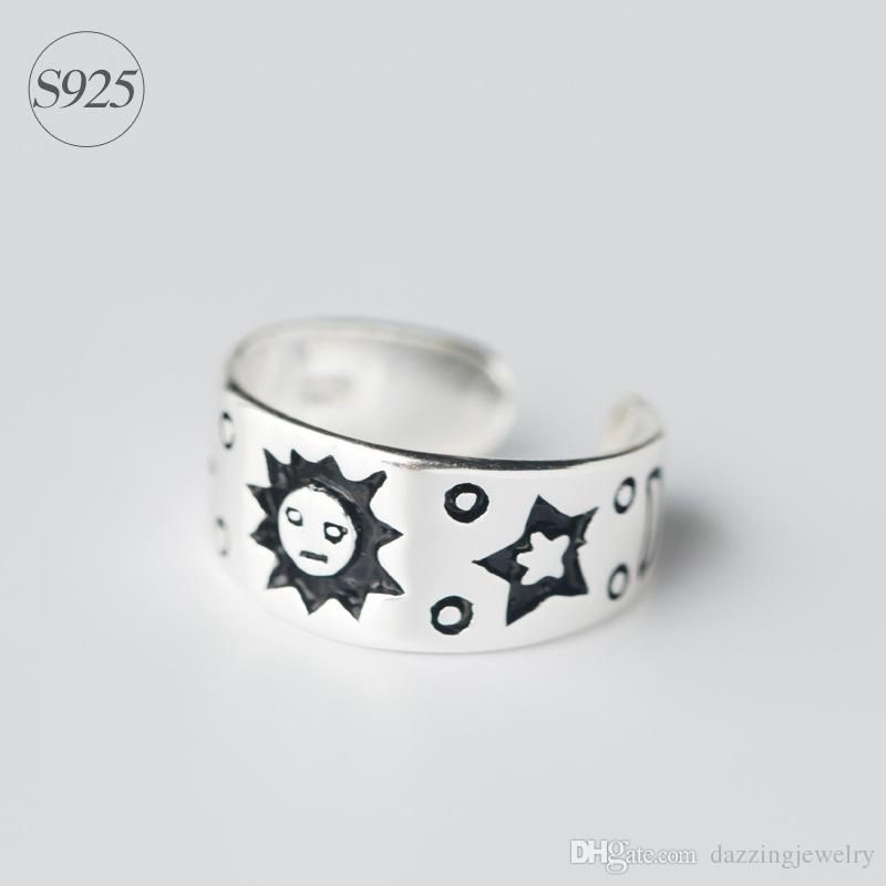 Solid real 925 sterling silver fashion girl's sun moon star shape unique design adjustable opening ring with high polished band