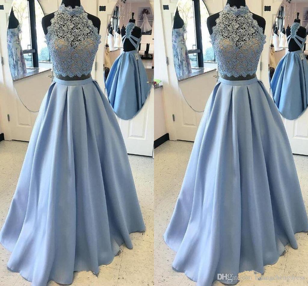 2019 Dwa sztuk Prom Dresses Light Sky Blue Lace High Neck Backless Evening Suknie Custom Make Special Okazję Dress