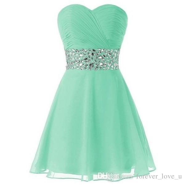 Classic Mint Green Homecoming Dresses A Line Sweetheart Neckline Sleeveless Ruched Top Crystals Short Prom Party Gowns Custom Made