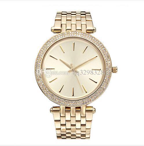 2017 Elegante Nueva Alta Calidad de Lujo Cristal Diamante Relojes Mujeres Reloj de Oro Tira de Acero Rosa Oro Sparkling Vestido Reloj de pulsera Nave de Gota