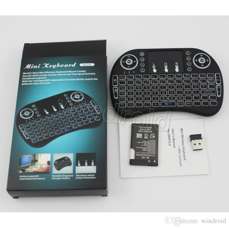 Touch Fly Air Mouse chargeable battery Black White Portable 2.4G Rii Mini i8 + backlight Wireless Keyboard Mouse Combo Touchpad PC
