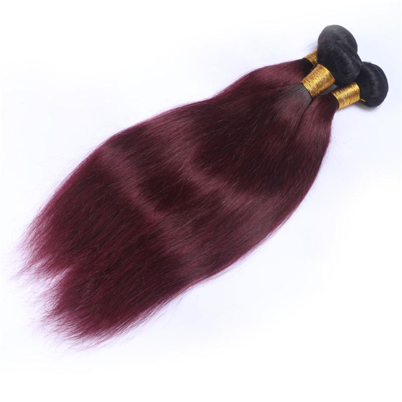 Brazilian Wine Red Ombre Human Hair Wefts with Lace Closure Straight 1B/99J Burgundy Ombre 4x4 Lace Front Closure with 3Bundles