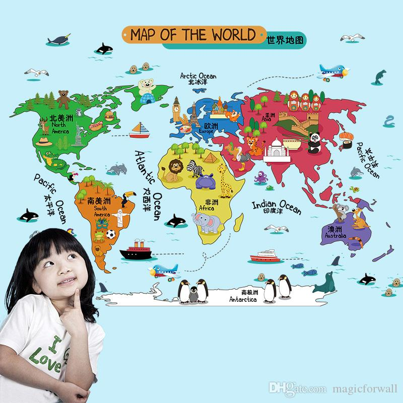 Map Of Canada Kids.Cartoon Map Of The World Wall Stickers Kids Room Nursery Wall Art Mural Poster Lettering Education Wall Decals Home Diy Decor Wallpaper Art