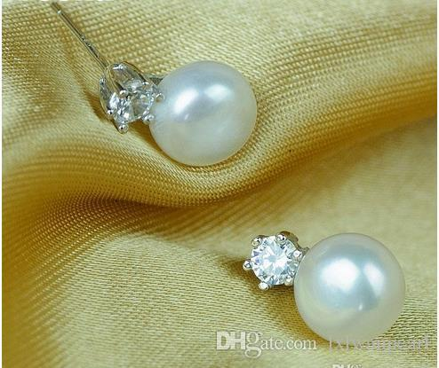 gioielli genuini 8-9mm perla orecchini le donne gioielli di perle shinning cristallo bianco placcato oro orecchini accessori regalo