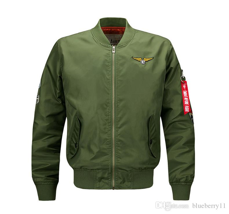 Black Bomber Jacket Flight Pilot Jackets Mens Casual Flying Coats Long Sleeve Slim Fit Clothes  Embroidery Plus Size M-6XL