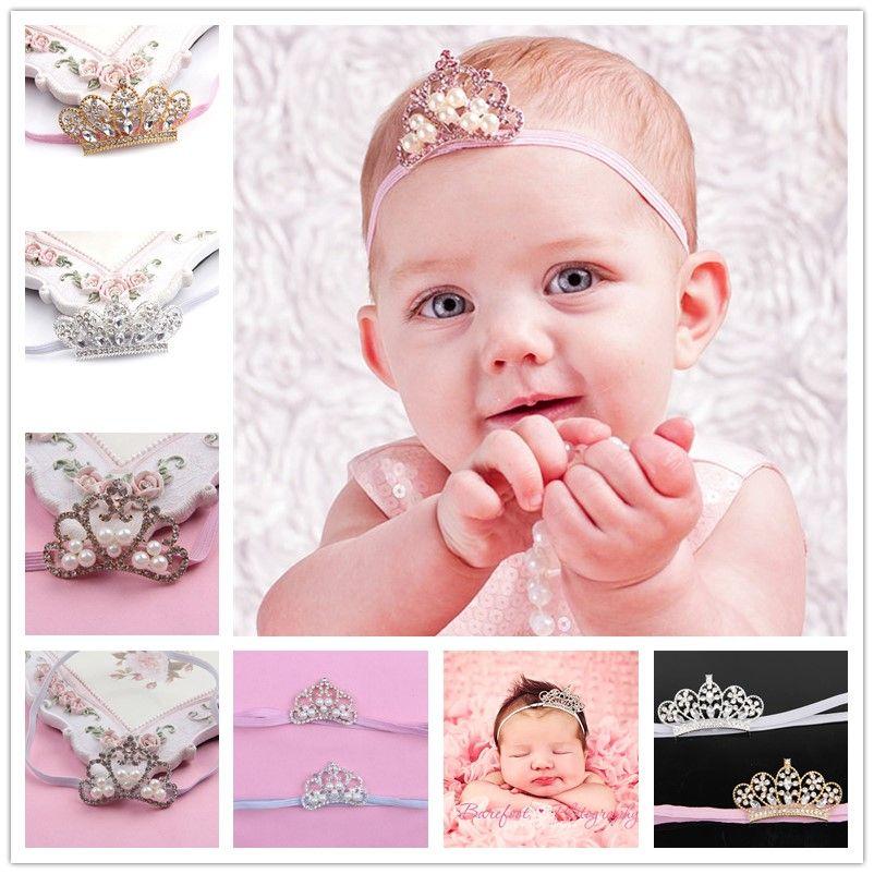 Baby Girls Crown Headbands Children Shiny Rhinestone Pearl Tiara Hairbands  Infants Kids Party Wear Hair Accessories Wedding Headwear KHA94 Black Girl  Hair ... 363cce45b70c