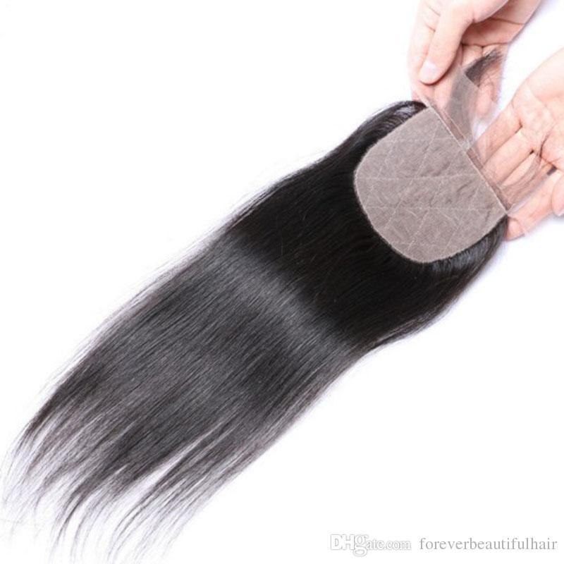 Brezilyalı ipek üst kapatma 4 * 4 düz ipek taban dantel kapatma ile bebek saç ücretsiz kısmı 100% insan saçı kapatma parçası