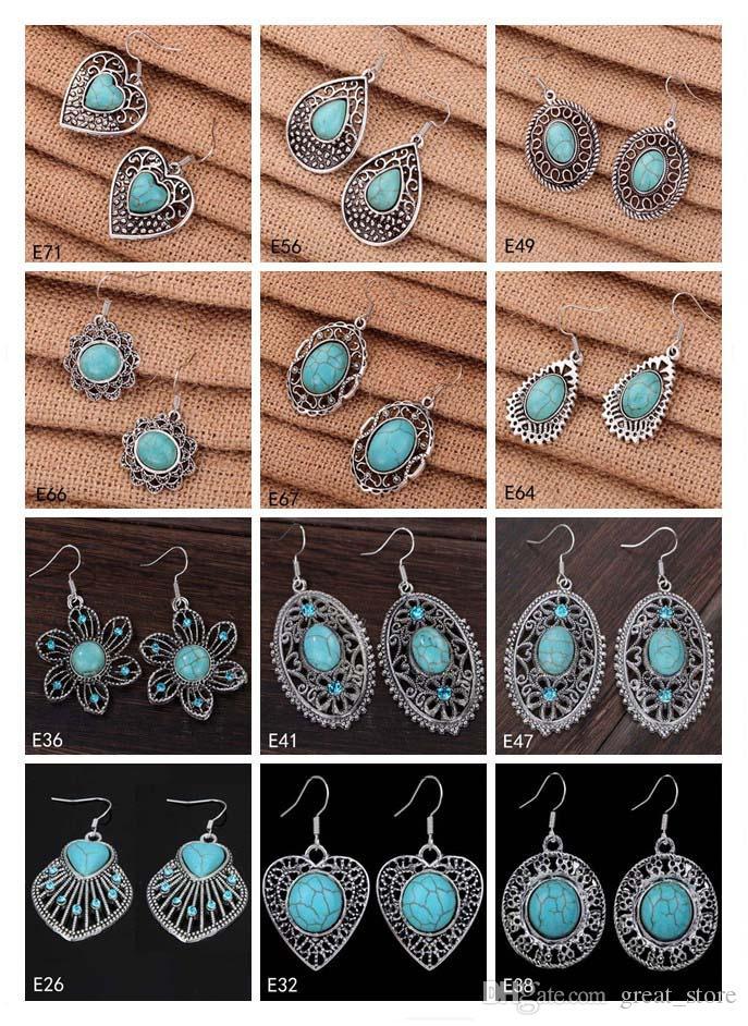 Damen DIY Tibetan Silber Türkis Baumeln Ohrringe 12 Stücke viel Gemischt Stil, Hohl Flower European Perlen Ohrring GTTQE2
