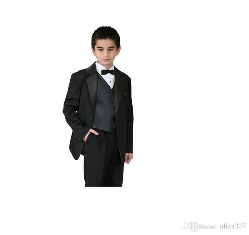 High qulity boy suit for wedding fashion three-piece boy suit tuxedos pure color formal occasion suit jacket+pants+vest+tie