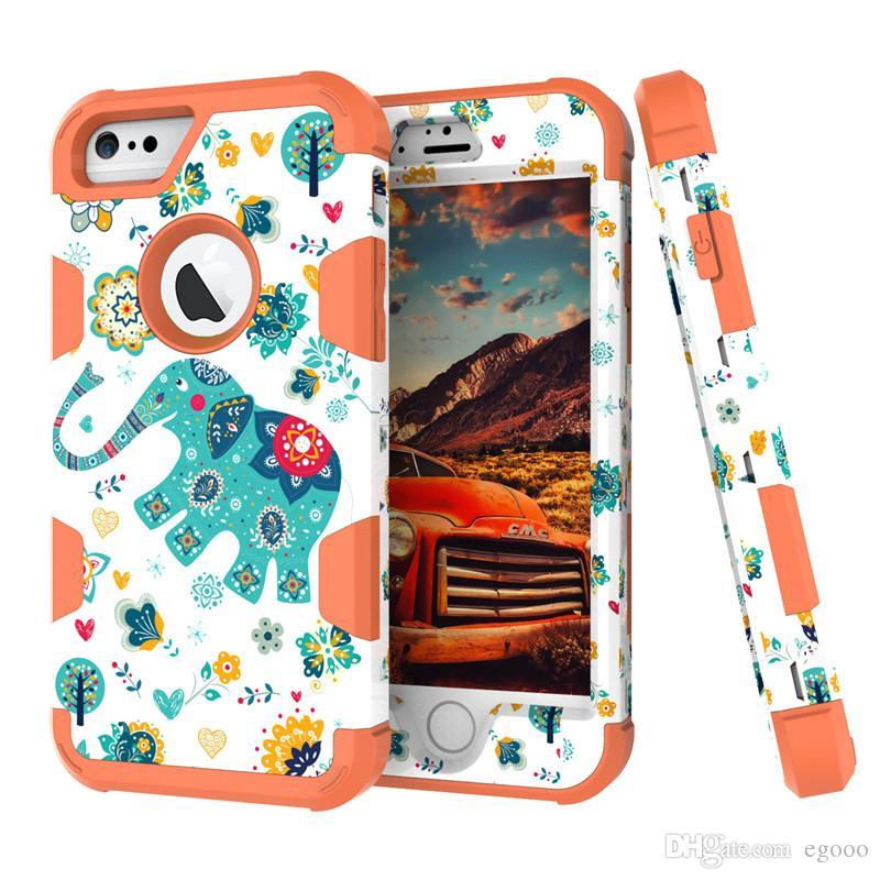 3 в 1 Гибридный Робот Чехол Высокого Качества ТПУ Пригородный Защитник Броня Чехол Слон шаблон для iPhone X XS Max Xr 8 6 7 плюс S8 Plus