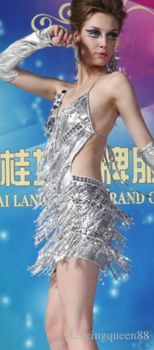 Vestido latino Vestido dorado y plateado para mujer Vestido de baile latino Disfraces lentejuelas Salsa faldas a la venta es