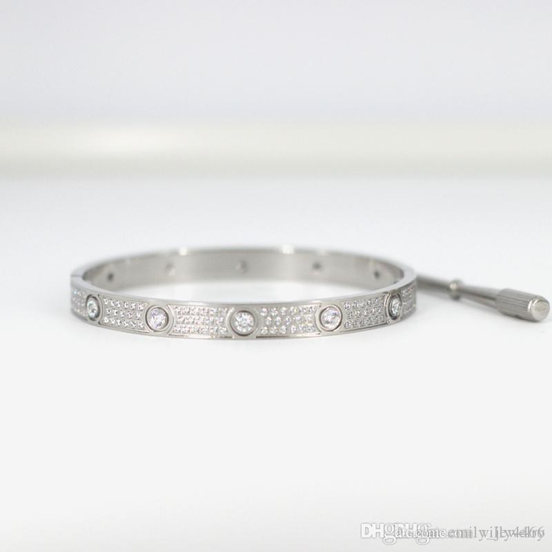 Homens e mulheres de aço de titânio amor pulseiras de parafuso com ouro CZ completo diamante prata rosa pulseira de ouro com chave de fenda pulseira para amantes de jóias