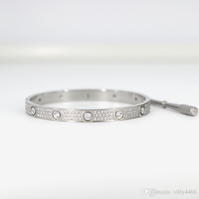 Titane acier hommes et femmes amour vis bracelets avec plein cz diamant argent bracelet en or rose avec tournevis bracelet pour amoureux bijoux