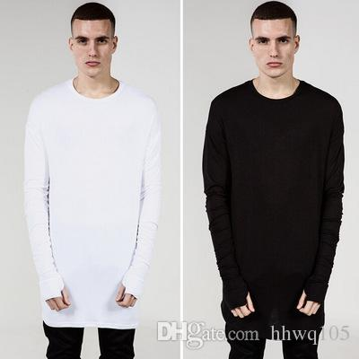 Men S Plain Long T Shirt Kanye West Men Oversized Hip Hop T Shirts White  Black Gray Long Sleeve Swag Casual Tees Tops Plus Size YYG1005 T Shirt On  Shirt ... 8e18a0f4614