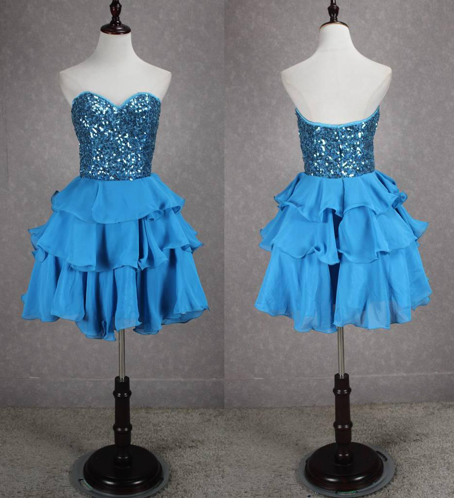 e87613cfe67 Lace Chiffon Short Prom Dress With Sequin 2016 Ruffled Ball Gown Costumes Short  Prom Gowns Sky Blue Plus Dresses Plus Size Formal Gowns From Sarawedding